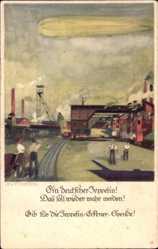 Künstler Ak Amtsberg, Otto, Ein deutscher Zeppelin, Eckener Spende