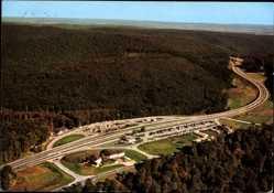 Postcard Autobahnrasthaus im Spessart, Motel, Fliegeraufnahme, Rohrbrunn