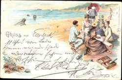 Litho Gruß aus Ellerbeck, Strandbesucher, Picknick, Seehunde, Robben