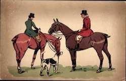 Künstler Ak Zwei Reiter auf ihren Pferden, Bluthund, Hetzjagd, Munk 365