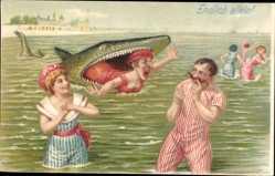 Litho Endlich allein, Hai frisst Ehefrau, Ehemann und Geliebte