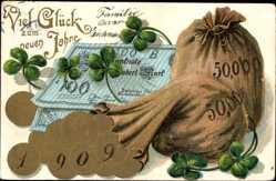 Präge Geldschein Ak Glückwunsch Neujahr, Datum 1909, Geldsäcke, 100 Reichsmark