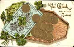 Präge Geldschein Ak Glückwunsch Neujahr, Goldmark, 100 Reichsmark, Kleeblätter