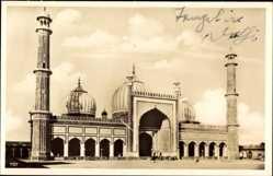 Postcard Delhi Indien, Blick auf die Jumna Moschee, Mosque, Minarette