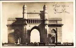Postcard Mumbai Bombay Indien, Gateway of India, Blick auf ein Tor, Autos