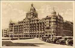 Postcard Bombay Indien, Blick auf das Taj Mahal Hotel, Autos, Fassade