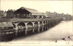Postcard Le Mans Sarthe, Gare des Tramways de la Sarthe, Bahnhof, Wasserseite