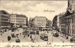 Postcard Madrid Spanien, Puerta del Sol, Straßenbahnen, Kutschen, Platz