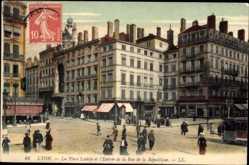 Ak Lyon Rhône, La Place Leviste et l'Entree de la Rue de la Republique