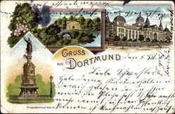 Litho Dortmund im Ruhrgebiet, Fredenbaum, Kriegerdenkmal, Kronenburg