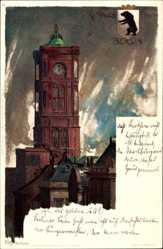 Künstler Litho Kley, Heinrich, Berlin Mitte, Turm vom Roten Rathaus