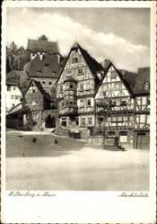 Postcard Miltenberg in Unterfranken Bayern, Fachwerkhäuser am Marktplatz