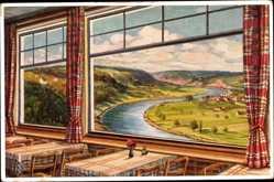 Künstler Ak Glaser, A., Bad Wimpfen am Neckar, Terrasse des Hotels Mathildenbad