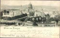 Postcard Potsdam in Brandenburg, Panoramaansicht mit Nikolaikirche