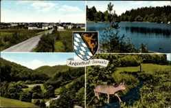 Wappen Ak Argenthal im Soonwald, Reh, Partie am See, Straße, Tal