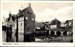 Postcard Senden in Westfalen, Blick auf das Schloss, Teich, Brücke