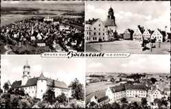 Postcard Höchstädt an der Donau Schwaben, Marktplatz mit Kirche, Schloss, Gesamt