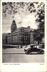 Postcard Stockholm Schweden, Strand Hotel, Straßenpartie, Auto