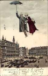 Postcard Bruxelles Brüssel, Une excursion, Familie am Schirm, Markt, Fotomontage