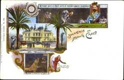 Künstler Ak Monte Carlo Monaco, Le Casino, Roulette, Teufel, Palmen, Kasino