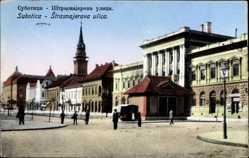 Postcard Szabadka Subotica Serbien, Strasnajerova ulica, Straßenpartie