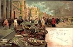 Litho Neapel Campania, Mercato di Pesci, Fischmarkt