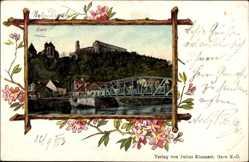 Passepartout Ak Gars am Kamp Niederösterreich, Blick auf den Ort, Brücke, Ruine