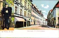 Postcard St. Pölten Niederösterreich, Kasernengasse, K.K. Karmeliterkaserne, Soldat
