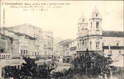 Postcard Recife Pernambuco Brasilien, Matriz da Boa Vista e Jardim Conde d'Eu