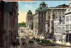 Ansichtskarte / Postkarte Sydney Australien, Bridge Street, horse carriages, pedestrians