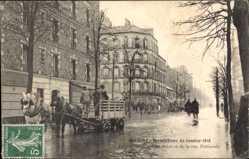 Postcard Ivry sur Seine Val de Marne, Inondatin de Janvier 1910, Rue de Seine