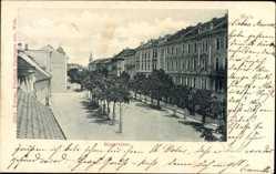 Postcard Wels Oberösterreich, Blick in die Ringstraße, Häuser, Kirchturm