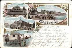 Litho Ostende Westflandern, La Plage, Kursaal, Strandwagen, Digue