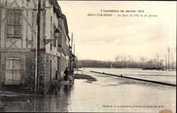 Postcard Bray sur Seine et Marne, Inondation Janvier 1910, Quai de l'Ile le 26 Janvier