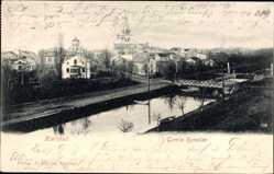 Postcard Karlstad Schweden, Gamla kanalen, Kanalpartie, Brücke, Ort