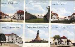 Postcard Slavkov u Brna Austerlitz Südmähren, Denkmal, Spitalska, Radnica