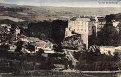 Postcard Velke Mezirici Reg. Hochland, Blick auf den Ort, Felsen, Felder