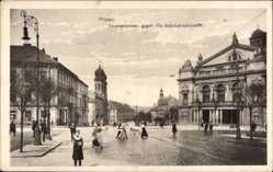 Postcard Plzeň Pilsen Stadt, Ferdinandstraße gegen die Stefanspromenade