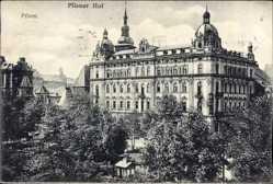 Postcard Plzeň Pilsen Stadt, Blick auf das Hotel Pilsener Hof, Parkanlage