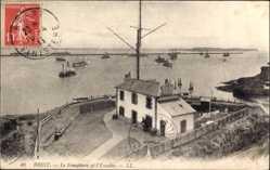 Ak Brest Finistère, Le Semaphore et l'Escadre, Meerpartie, Kriegsschiffe