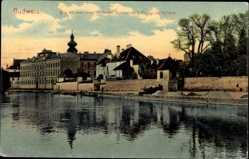 Postcard Budweis České Budějovice Südböhmen Tschechien, Quai mit neuem Gymnasium