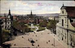 Postcard Brno Brünn Südmähren, Lazanské námestí z nemeckym domem, Straßenbahn
