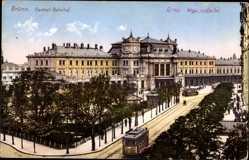 Postcard Brno Brünn Südmähren, Blick auf den Zentral Bahnhof, Straßenbahn