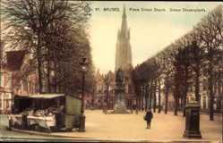 Postcard Bruges Brügge Flandern Westflandern, Place Simon Steuin