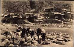 Ak Hoei Sien Kan Sou Gansu China, Chinesen am Fluss, Missionierung