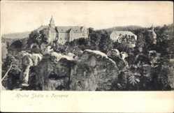 Postcard Hrubá Skála Groß Skal Reg. Reichenberg, Totalansicht, Schloss, Felswald