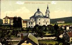Postcard Křtiny Kiritein Südmähren, Kirche und Neuschloss