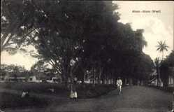 Postcard Aloon Lombok Indoesien, Straßenpartie, Indonesier, Bäume, Häuser
