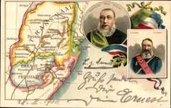 Litho Transvaal Südafrika, Oranje Freistaat, Paul Krüger, General Joubert