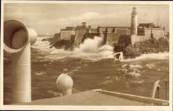 Postcard Havanna Kuba, Morro Castle, Festung im Wasser, Leuchtturm